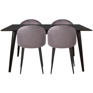 Essgruppe | Esstisch Schwarz mit 4 Samt Stühlen Grau - Nora  (Lieferbar ab Woche 2, 2020)