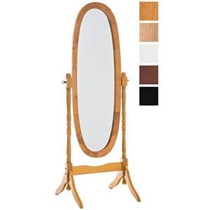 CLP Holz-Standspiegel CORA I Ovaler freistehender Spiegel im Landhausstil I Neigbarer Ganzkörperspiegel mit Holzgestell I Größe 150 x 60 cm I In Verschiedenen Farben erhältlich Eiche