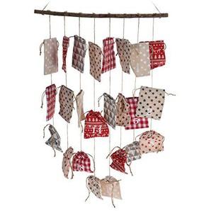 Adventskalender beige rot weiß Holzstab 24 Stoffbeutel Säckchen Kalender Advent