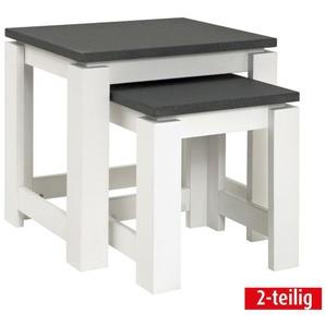 Beistelltisch-Set SANTANA 2-teilig Holznachbildung grau/weiß