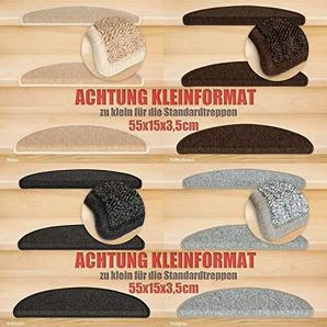 Kettelservice-Metzker® Stufenmatten Kleinformat für Raumspartreppen/Wendeltreppen 55x15x3,5cm inkl. Fleckentferner, Grau 26 Stück