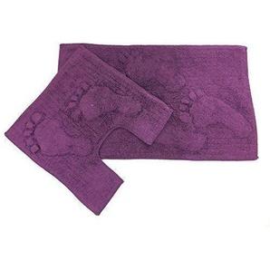 2-tlg groß erhöht gepolstert Fuß lila Baumwolle Badematte & Klovorleger Set