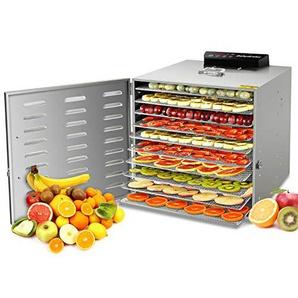 GCSJ Voller Edelstahl 10 Etagen Dörrgerät mit 30-90°C Einstellbare Temperaturregler, 24 Stunden Digitaler Zeitschaltuhr & 10pcs SS304 Mesh-Blätter, Obst- Fleisch- Früchte-Trockner, Leichte Reinigung