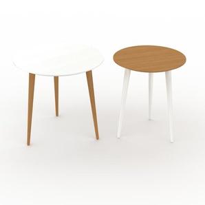 Couchtisch Eiche, Holz - Eleganter Sofatisch: Beste Qualität, einzigartiges Design - 50/40 x 47/47 x 50/40 cm, Konfigurator