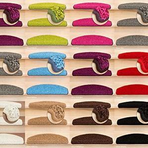 Kettelservice-Metzker® Stufenmatten Shaggy New Halbrund incl. Fleckentferner 65x24x4cm Rot 15 Stück
