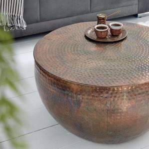 Extravaganter Couchtisch ORIENT II 60cm kupfer geflammt Hammerschlag Design