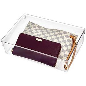 iDesign Linus Schubladenbox für Schrank oder Schminktisch, 30,5 cm x 22,9 cm x 7,6 cm Aufbewahrungsbox aus Kunststoff, durchsichtig