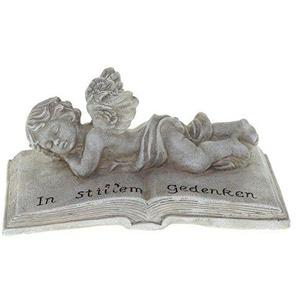 Grabdekoration Engel liegend auf Buch Spruch In stillem Gedenken wetterfest Grabdeko steingrau 21x10x11cm groß Schutzengel Grabfigur