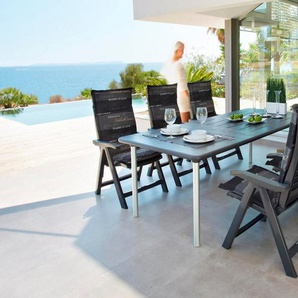 BEST Gartenmöbelset »Tavolo«, 6 Sessel, Tisch 160-220 cm, Kunststoff, anthrazit