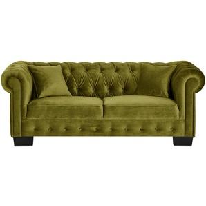 smart Sofa grün - Velour Chelli ¦ grün ¦ Maße (cm): B: 206 H: 77 T: 96