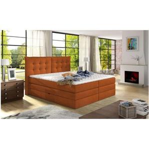 JUSTyou Demeter Boxspringbett Continentalbett Amerikanisches Bett Doppelbett Ehebett Gästebett Orange 140x200