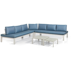 Suns Easy Loungeecke 5-teilig Aluminium inklusive Kissen Warm Grey/Blue