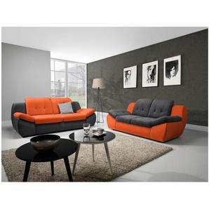 JUSTyou Mello Polstergarnitur Sofa Couchgarnitur Velours Grau I Orange