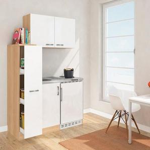 Miniküche mit Duo-Kochplattenmulde und Kühlschrank, Breite 130 cm