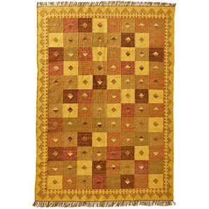 Damen Kelim, gelb, Gr. 90/160 cm,  home, Material: Wolle