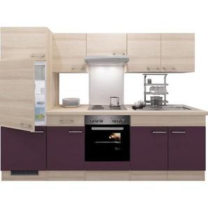 Flex-Well Exclusiv Küchenzeile Focus 270 cm Akazie Nachbildung Aubergine