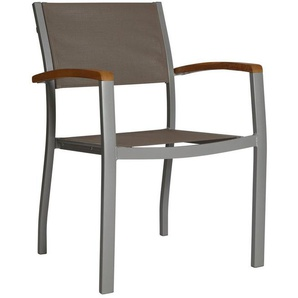 Gartenstuhl »Monaco«, Aluminium/Textil/Akazie, Stapelbar, Grau