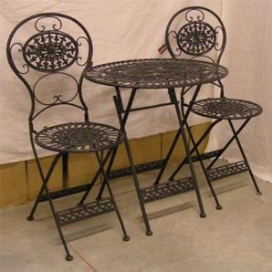 Casa Padrino Jugendstil Gartenmöbel Set Old Black - 1 Tisch, 2 Stühle - Eisen