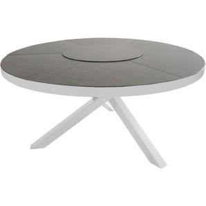 Gartentisch mit einem Gestell aus Aluminium in hellgrau, Tischplatte aus Glas mit Ceramic-Auflage, Maße: B/H/T ca. 150/74/150 cm