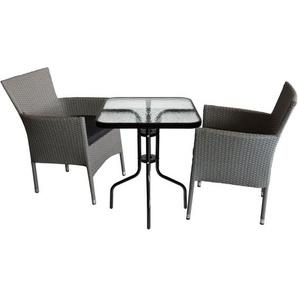 3tlg. Gartengarnitur, Glastisch 60x60xH70cm + 2x Rattansessel, Polyrattanbespannung Grau-meliert, stapelbar, inkl. Sitzpolster Schwarz - WOHAGA®