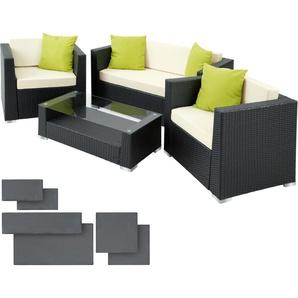 Rattan Lounge mit Aluminiumgestell München inkl. Bezüge in 2 Farben - Gartenlounge, Terrassenmöbel, Rattan Lounge - schwarz - TECTAKE