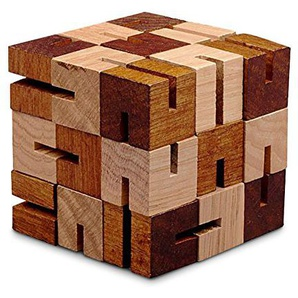 Geduldspiel Holzkette Würfel 3D-Puzzle aus Holz natur braun, 7 x 7 x 7 cm, Denkspiel Knobelspiel Holzspiel, witzige Geschenkidee Mitnehmspiel
