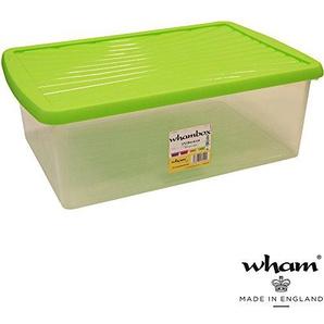 Box mit Deckel, grün, 37 L, Lebensmittelecht, Stapelbar, 59x39 cm: Aufbewahrungs Box Plastik Kiste Stapel Box Spielzeug Kiste Kunststoff Deckel