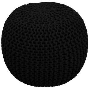 Cotton - Strickpouf, handgearbeitetes Sitzkissen aus Baumwolle, Schwarz, Ø45 cm