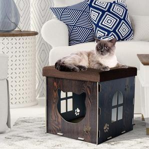 PawHut® Katzenhöhle Katzenschrank Katzenhaus Versteck Sitzhocker Sitzwürfel Braun