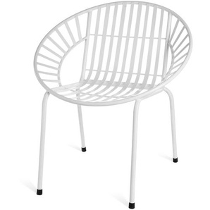Stuhl aus Metall rund, B:71cm x H:76cm, weiß