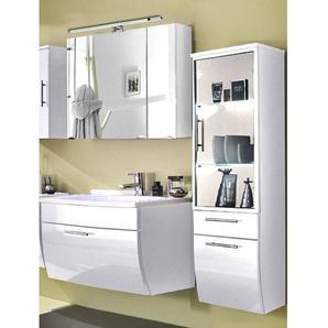Badmöbel Set TALONA-02 Hochglanz weiß, 90cm Waschtisch weiß, Spiegelschrank Spiegelschrank (3-teilig)