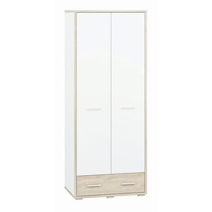 Jugendzimmer - Drehtürenschrank / Kleiderschrank Forks 01, Farbe: Eiche / Weiß - Abmessungen: 200 x 80 x 51 cm (H x B x T), mit 2 Türen, 1 Schublade und 2 Fächern