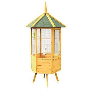 Melko XXL 6-Eck Vogelvoliere Vogelkäfig Vogelhaus aus Holz, 74 x 74 x 194 cm, braun