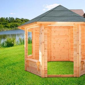 WOLFF FINNHAUS Holzpavillon »Korsika 4«, BxT: 397x397 cm, mit 4 Fensteröffnungen
