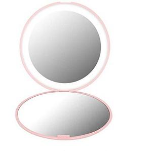 Bmstjk Schminkspiegel, einfach und stilvoll tragbar, Faltbarer LED-Spiegel 10-fache Vergrößerung, 12 LED-Schminkspiegel, pink