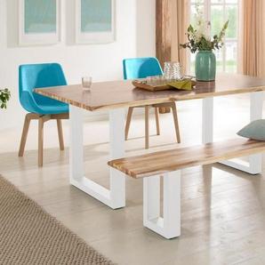 Home affaire Baumkantentisch »Melody« aus massivem Akazienholz, mit schönen Metallfußgestell in zwei verschiedenen Farben