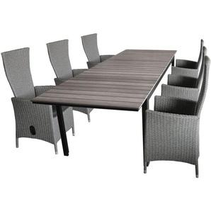 7tlg. Gartengarnitur Gartentisch, Polywood Tischplatte Grau, 160/210/260x95cm + 6x Gartensessel grau-meliert, stufenlos verstellbar, inkl Sitzkissen - WOHAGA®