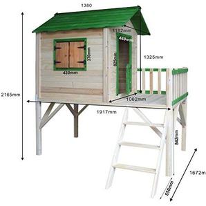 BRAST Spielhaus für Kinder mit Balkon StelzenhausAdventure 167x191x216cm Kinder-Haus Turm Holz Spielehaus