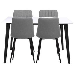 Essgruppe | Esstisch Schwarz/Weiß mit 4 Stühlen Hellgrau - Björk & Elina