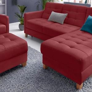 exxpo - sofa fashion Polsterecke, wahlweise mit Bettfunktion, rot, NaturLEDER®