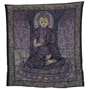 Kunst und Magie Tagesdecke Wandbehang Buddha Batik Tuch Goa, Farbe:Lila