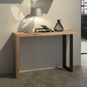 Design Flur Konsolentisch in Eiche White Wash Bügel-Fuß