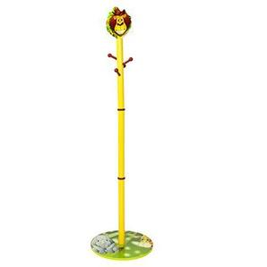 Homestyle4u 1128 Kindergarderobe Dschungel Tiere , Kinder Kleiderständer mit 4 Haken 140 cm Höhe , Holz Grün Bunt