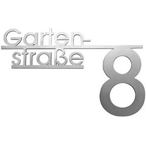 Thorwa Design Hausnummer mit Straßenname oder Familienname/Namensschriftzug (Design 4) Hausnummernschild aus Edelstahl mit Wunschschriftzug/Namen/Schriftzug (30cm x 20cm)