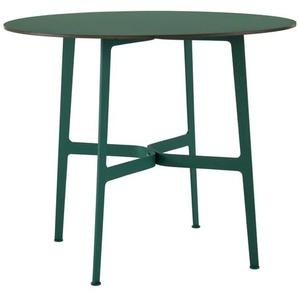SPØ1 - Eileen Circular HPL Tisch - Green - White(RAL 9002) - outdoor