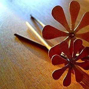 Unbekannt Blume Blüte Blüten-Set auf Stab Rost Edelrost Metall Rostfigur Gartenstecker Deko Dekoration Deko-Idee Rostdeko Gartendeko Geschenk-Idee Geschenk