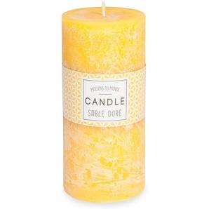 Zylindrische Kerze gelb 7 x 15 cm