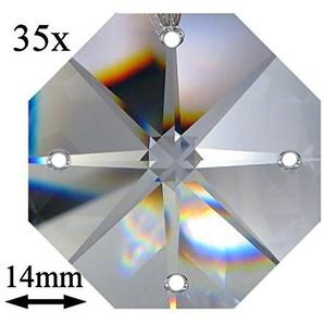 35x Regenbogenkristall Octagon Stern ~ Koppe 14mm 4 Loch Crystal K9 ~ Feng Shui Kronleuchter Lüster