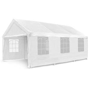 Nexos Hochwertiges Festzelt Partyzelt Pavillon 4x6 m weiß mit Seitenteilen für Garten Terrasse Feier Markt als Unterstand Plane wasserdicht PE Dach 180 g/m² Stahlrohre