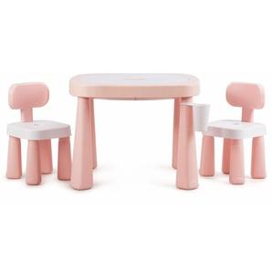 COSTWAY Kinderspieltisch- und Stuhlset, multifunktionaler Smarter Tischset, Babytisch mit Bausteinen, Kindersitzgruppe AR-Technologie, Kindermoebel ideal fuer Kinderzimmer und Kindergarten Rosa